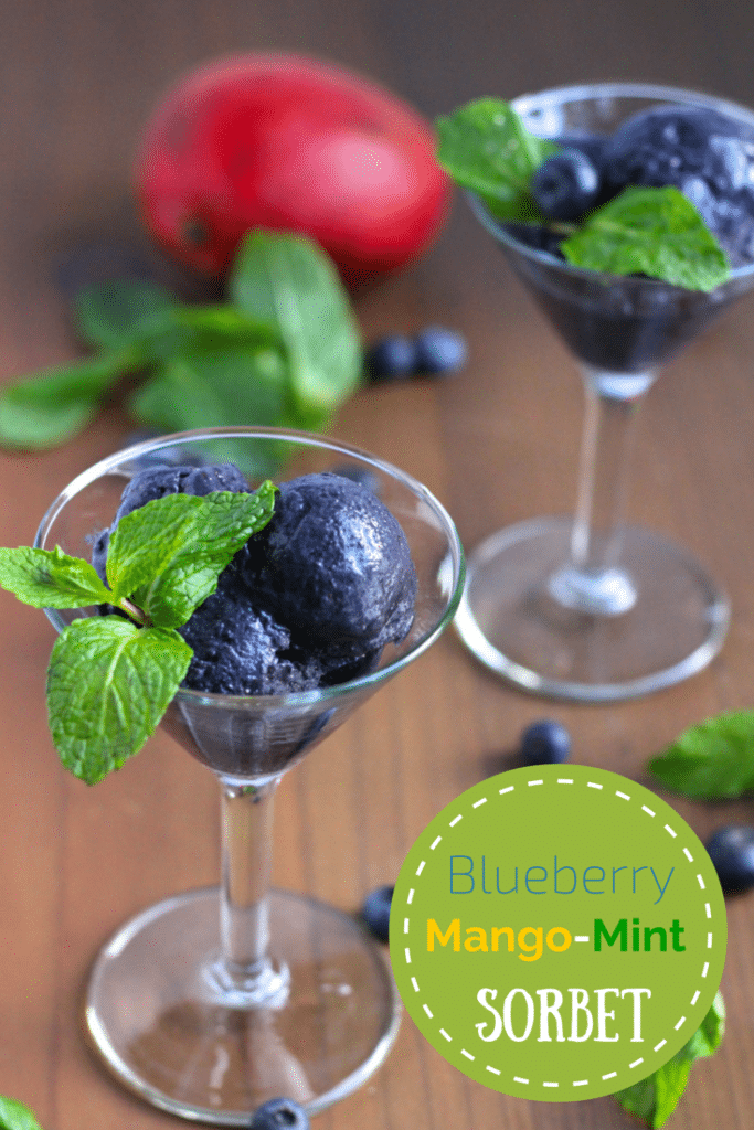 Two martini glasses filled with blueberry mango sorbet and garnished with mint on a rustic background.