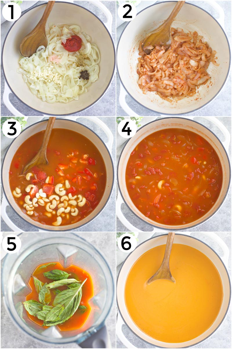 A collage of photos showing how to make the recipe in 6 easy steps.