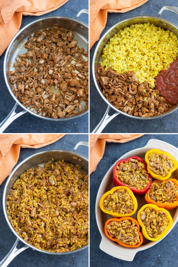 A photo collage showing how to make vegan stuffed bell peppers in 4 easy steps.