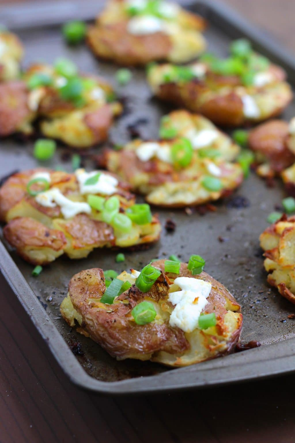 Smashed Potatoes with Rosemary & Goat Cheese