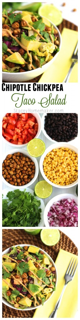 Easy vegetarian chipotle chickpea lunch or dinner. Loaded with veggies and the spicy chipotle sauce is my favorite! Delicious salad!