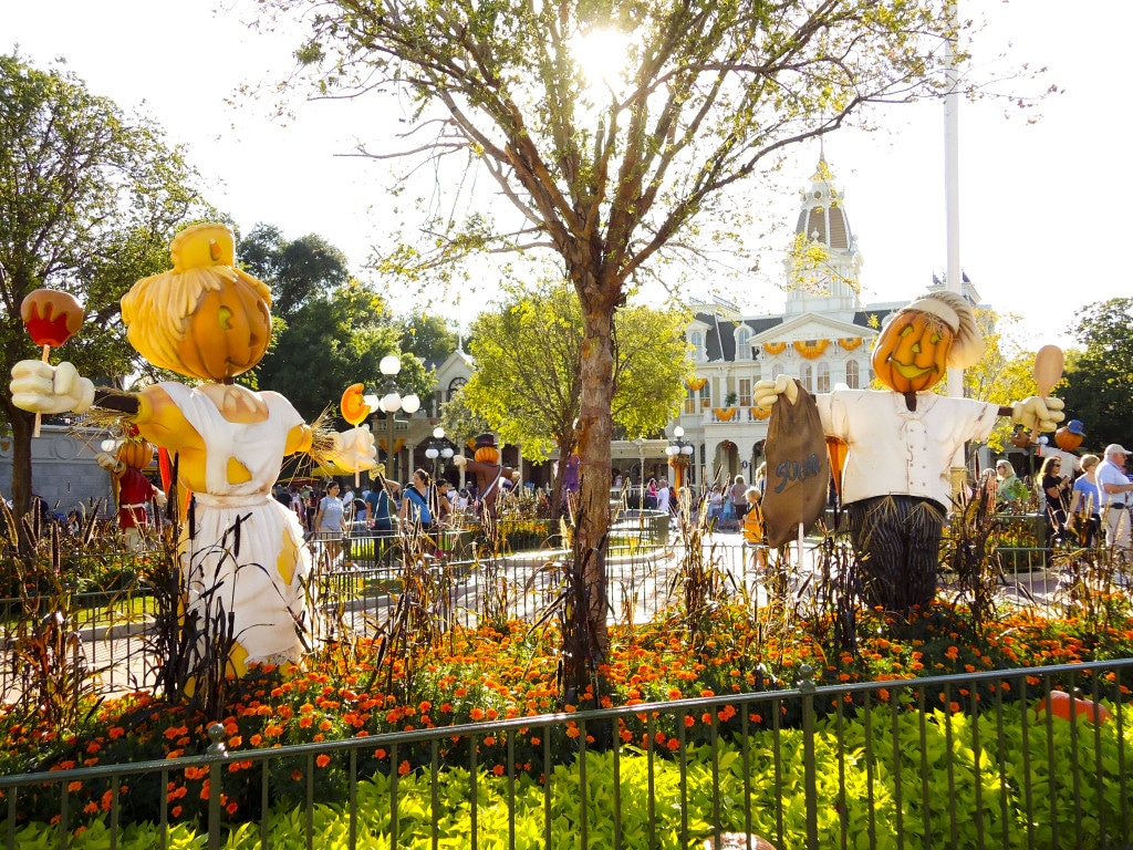 Scarecrows on Main Street USA at Mickey's Not-so-Scary Halloween party in Disney World.