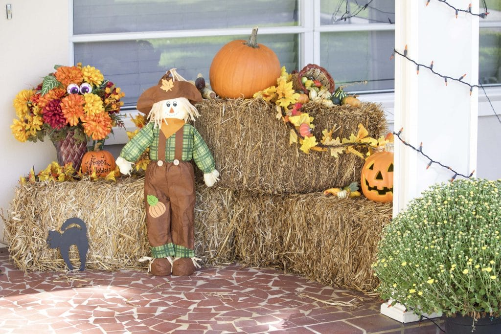 I set up my front porch fall decorations today! It looks so festive and welcoming!