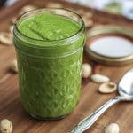5 minute vegetarian pistachio kale sauce that's low in calories and perfect for dipping, drizzling and dressings!