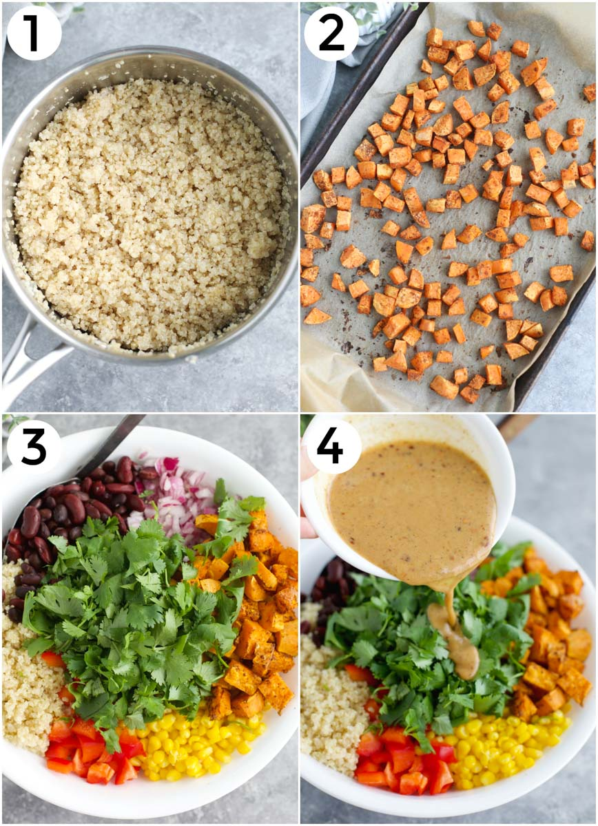 A collage of photos showing how to make the recipe in 4 easy steps.