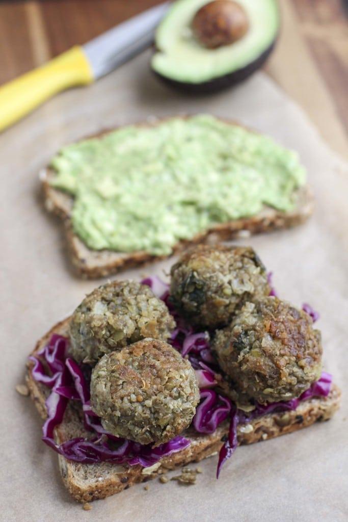 lentil quinoa ball sandwich