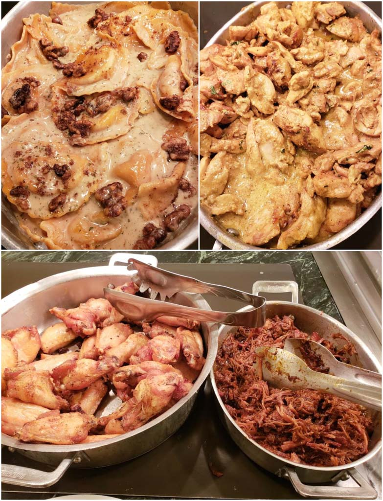 A collage of pictures showing the buffet food options (ravioli, butter chicken, chicken drumsticks, and pulled pork) at 1900 Park Fare.