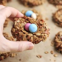 Recipe for Easter egg granola bird nests, and a craft tutorial for easter basket puzzle hunt + printable!