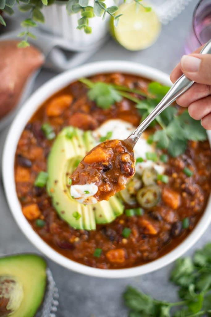 how to make sweet potato lentil bean chili