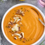 Spicy thai red curry cauliflower soup is my favorite light, vegetarian soup!