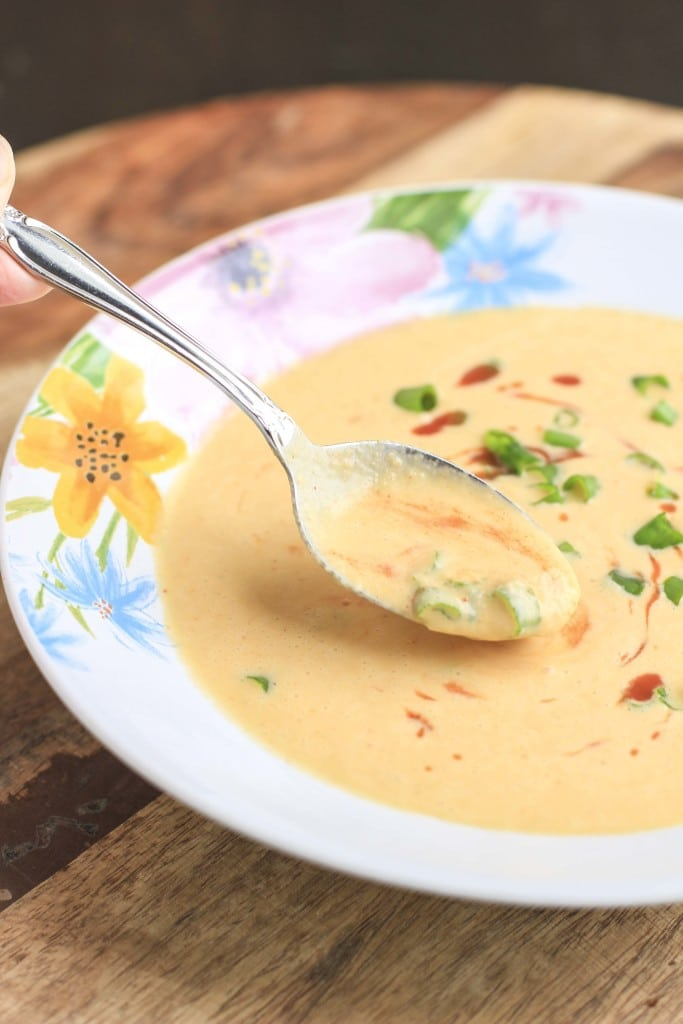 spicy thai red curry cauliflower soup