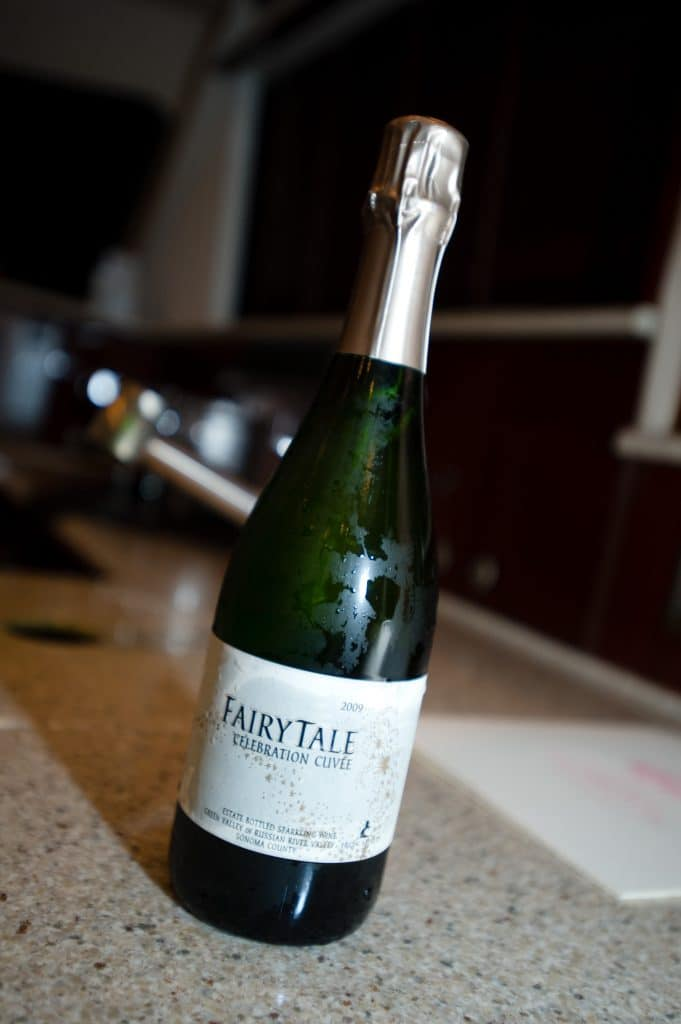 A bottle of Fairy Tale celebration cuvee on a counter top.