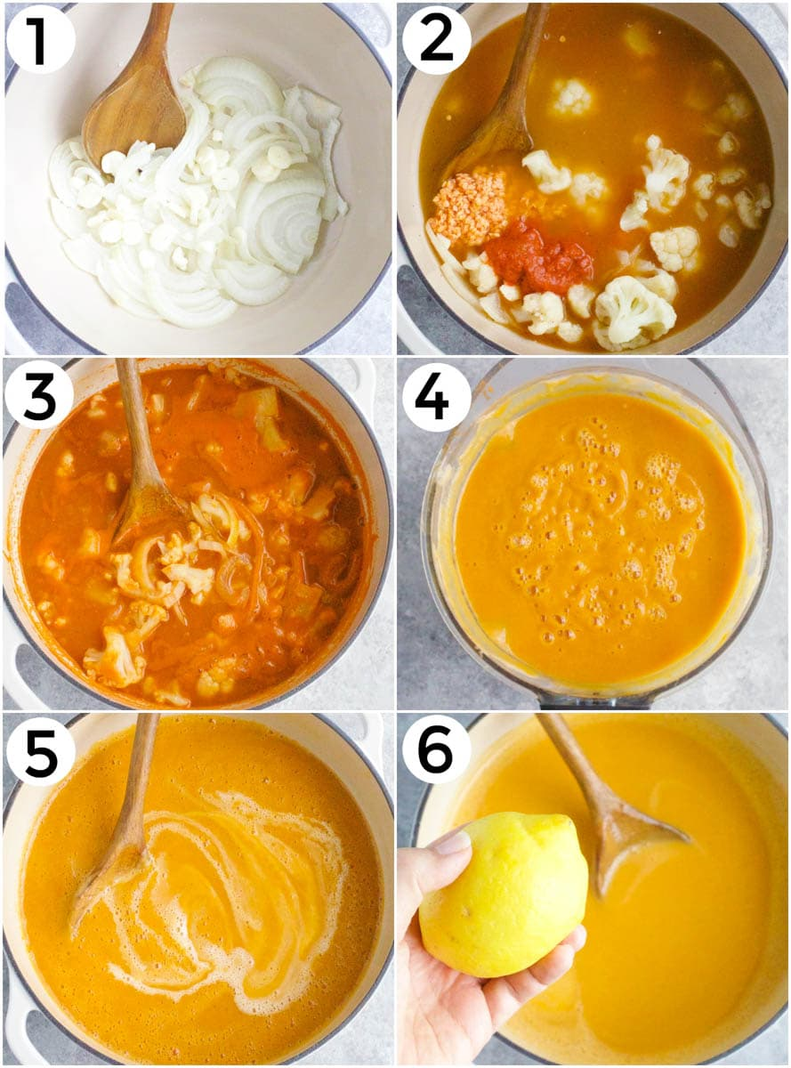 A photo collage showing how to make vegan red curry cauliflower soup in 6 easy steps.