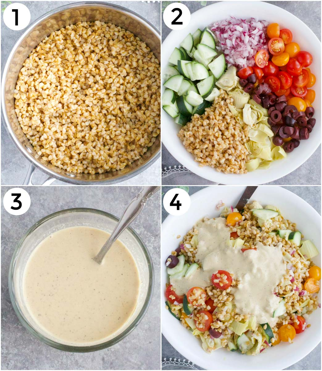 A photo collage showing how to make wheat berry salad in 4 easy steps.