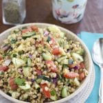 Simple Einkorn wheat berry salad is packed with fresh herbs, and flavors that make this the perfect lunch to-go! Full of protein, antioxidants and a healthier alternative than rice.