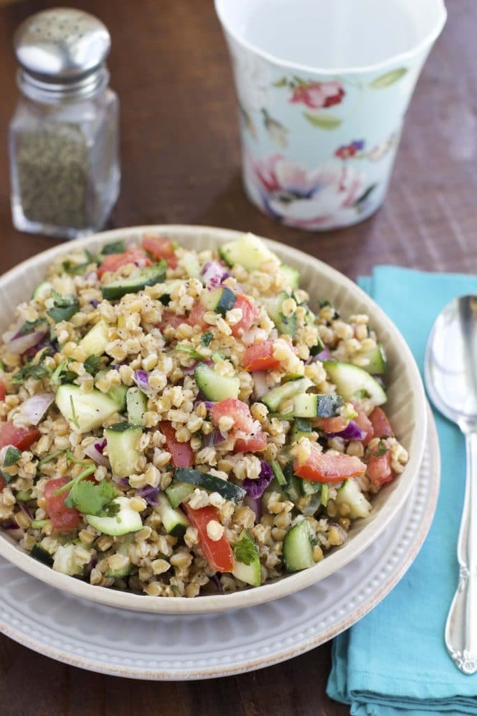 simple einkorn wheat berry salad