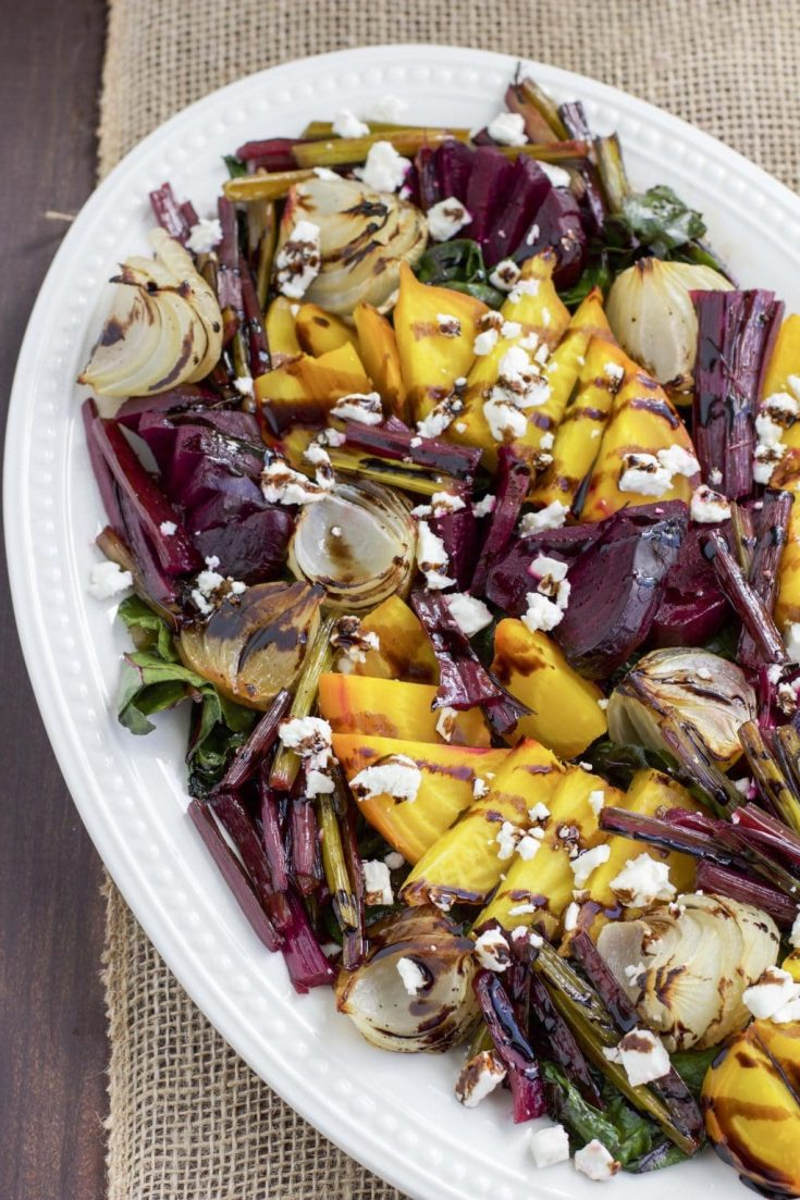 Roasted Beet and Onion Salad with Feta Cheese