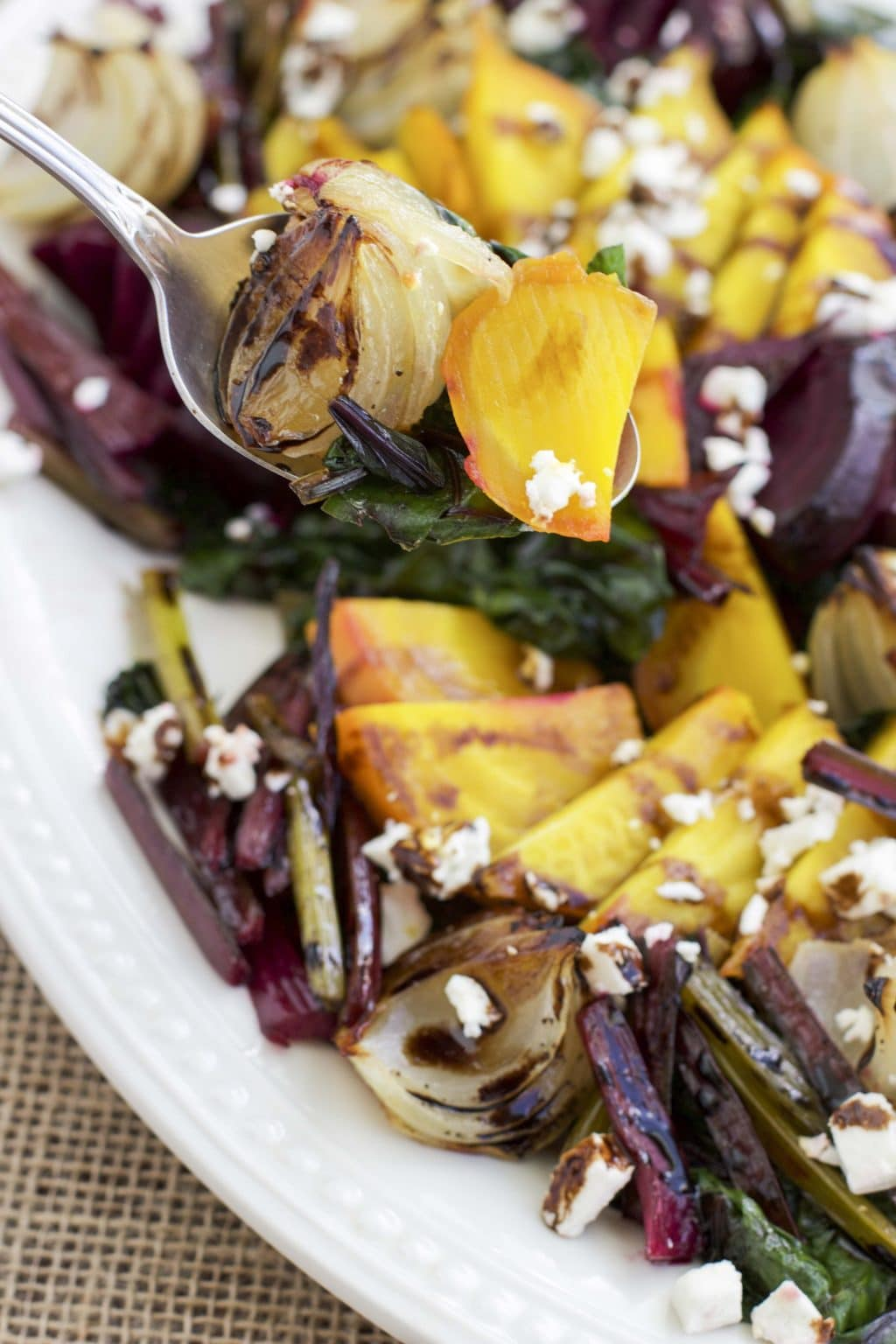 Roasted Beet and Onion Salad with Feta Cheese - Stacey Homemaker