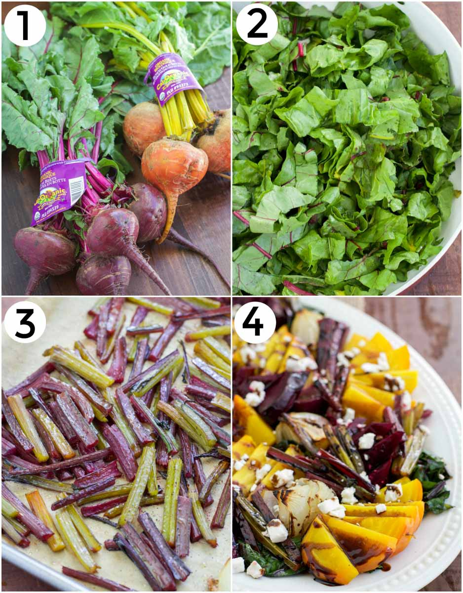 A photo collage showing how to make roasted beetroot and feta salad.