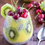 Chia seed pudding with cherries, kiwi, and mango.