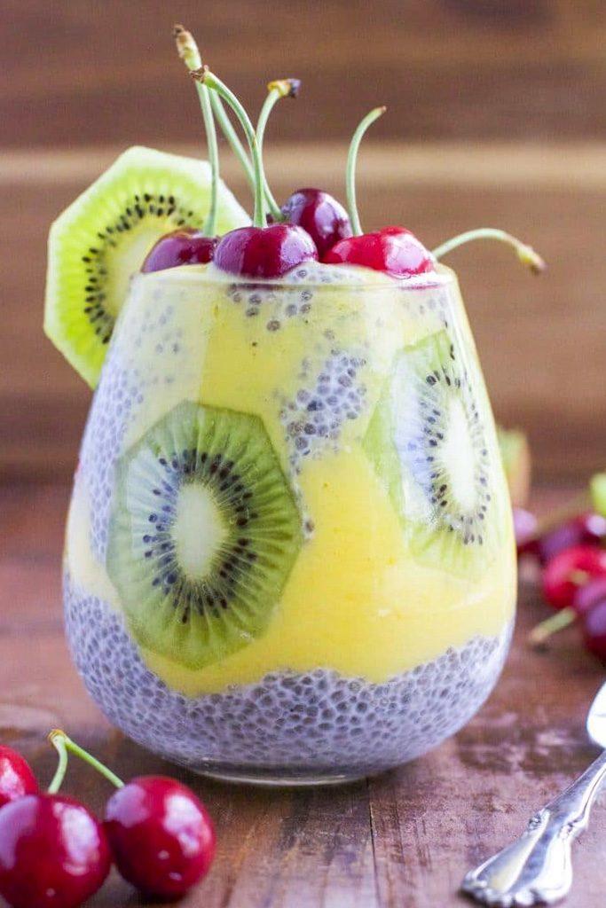 Kiwi Mango Cherry Chia Seed Pudding Recipe