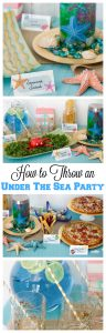 Easy instructions to setup and throw your own under the sea pizza party! Sea creature recipes and an aquarium in a jar craft instructions included!