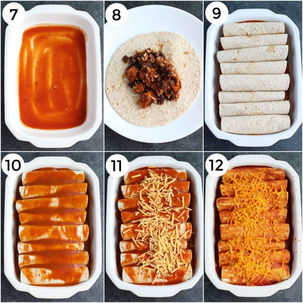 A photo collage showing how to make sweet potato enchiladas in a few easy steps.