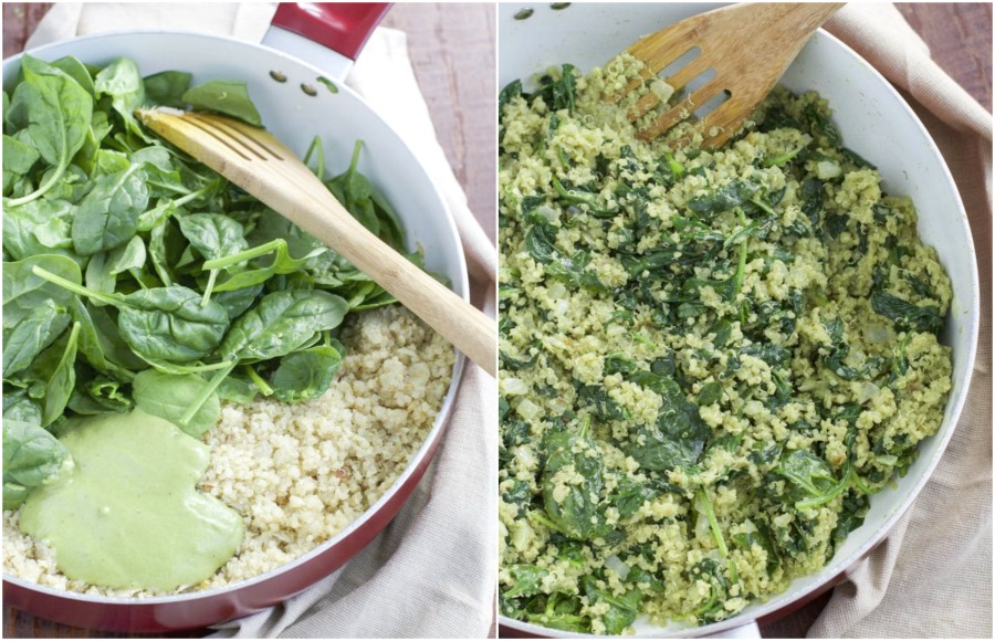 A large pan filled with spinach, quinoa, and pesto cream sauce filling in a large red and white pan.