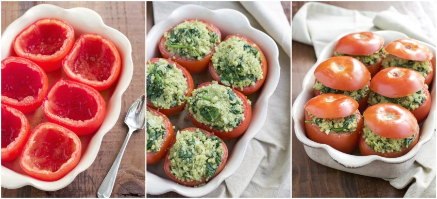 A photo collage showing how to make vegan stuffed tomatoes in a few easy steps.