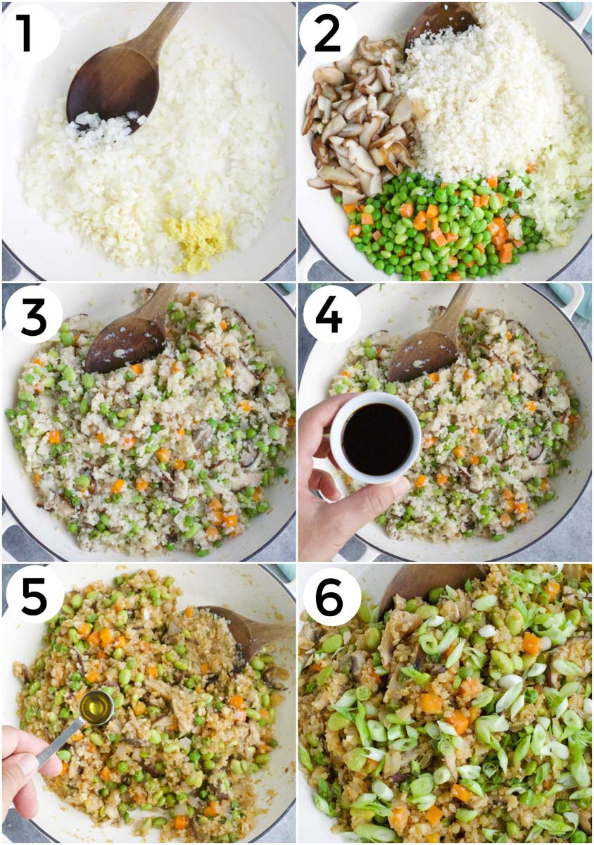 A photo collage showing how to make mushroom fried rice in 6 easy steps.