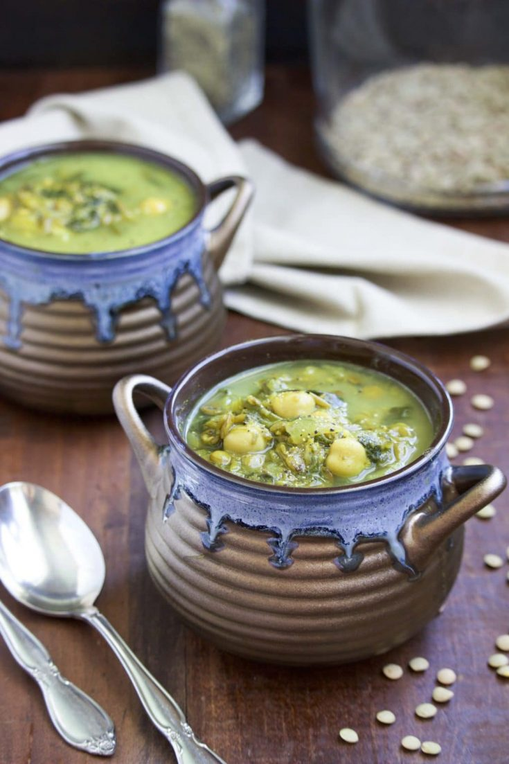 Creamy Chickpea Green Lentil Soup