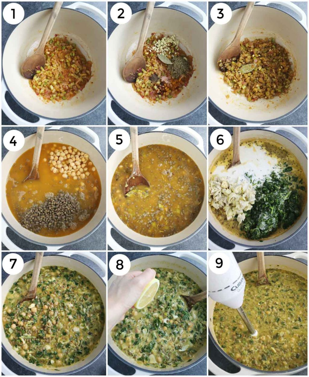 A photo collage showing how to make chickpea soup step by step.