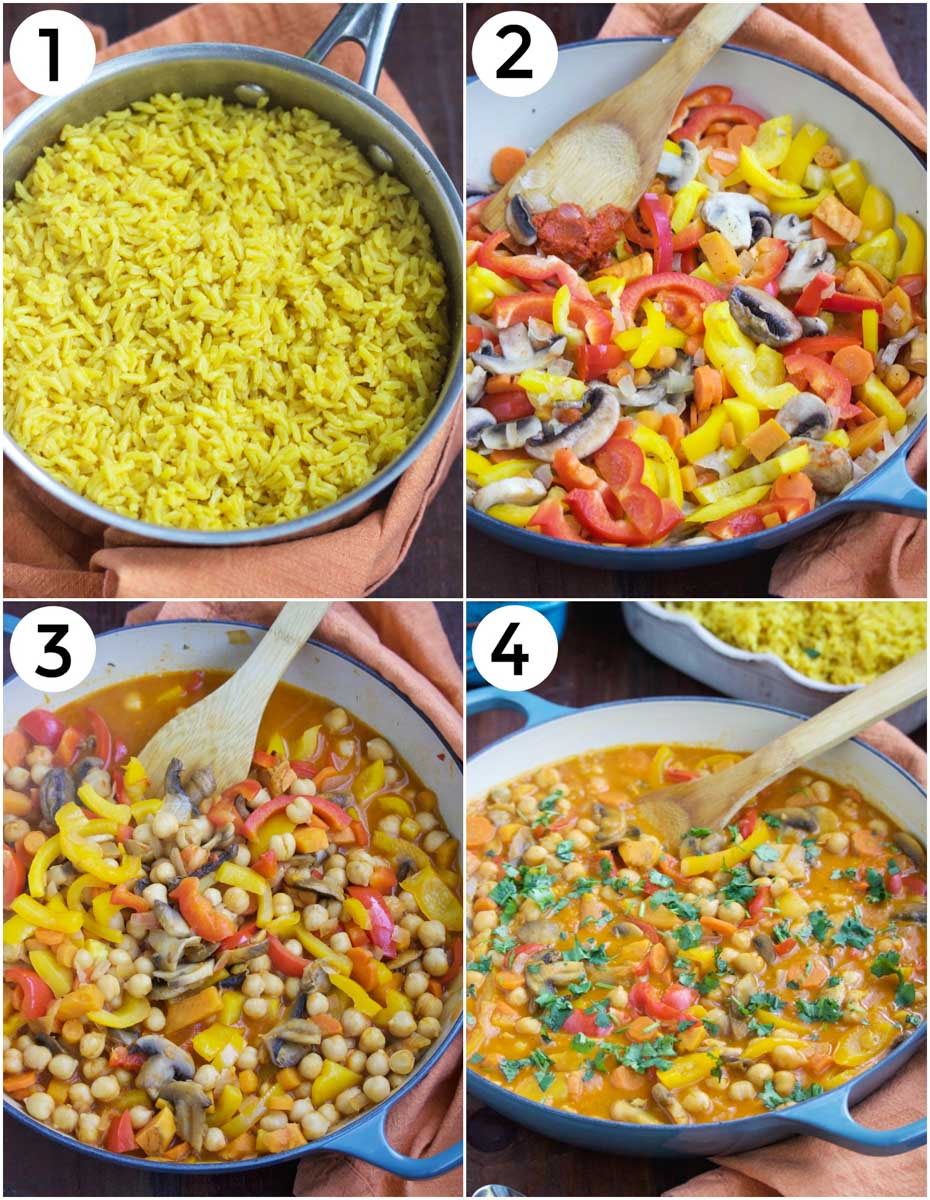 A photo collage showing how to make chickpea and mushroom curry in 4 easy steps.
