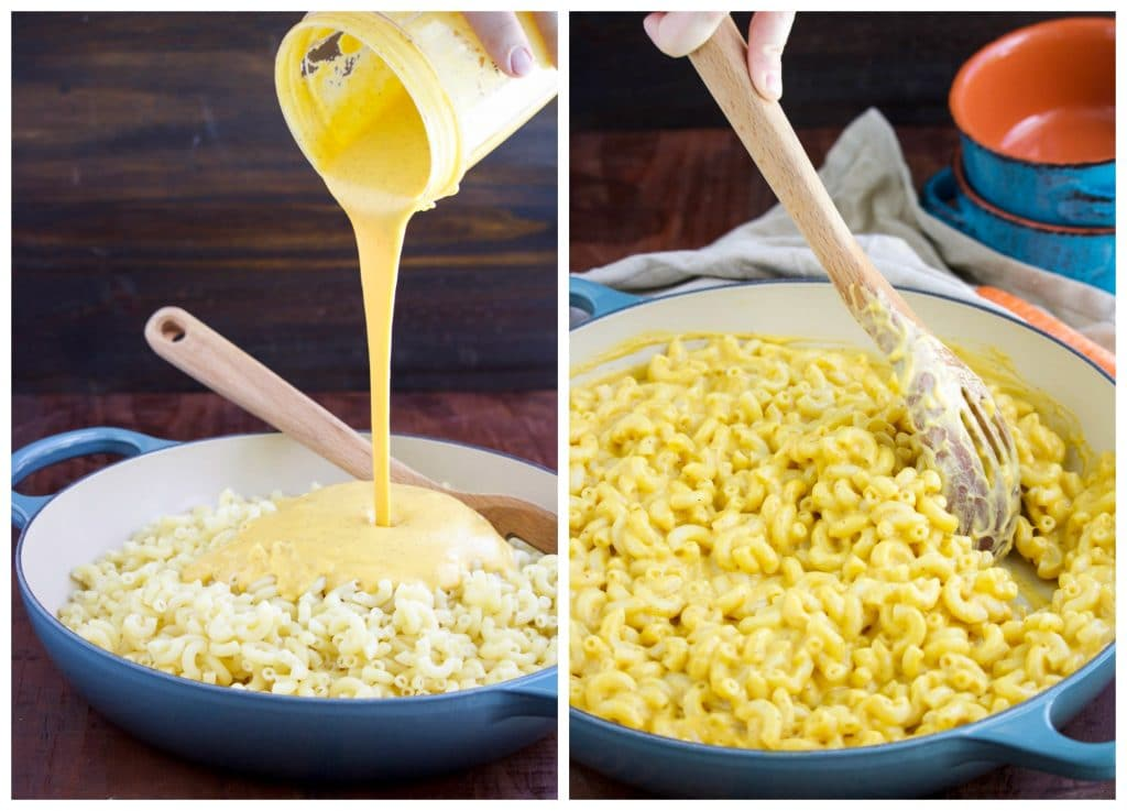 A photo collage showing how to to make plant based macaroni and cheese.