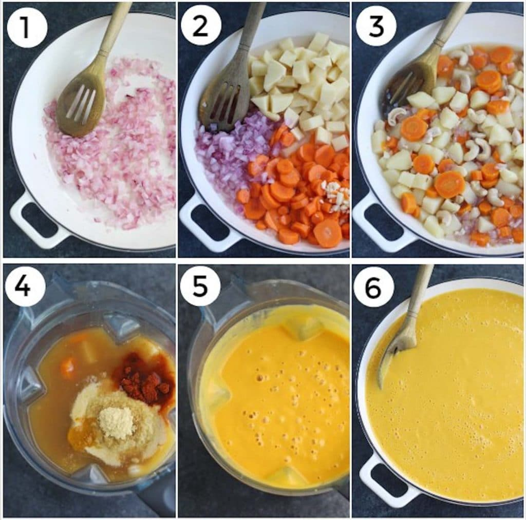 A photo collage showing how to make vegan cheese sauce in 6 easy steps.