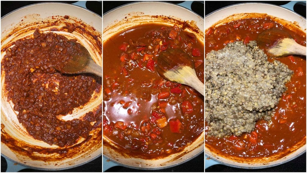 A photo collage showing how to make vegan lentil sloppy joes in a few easy steps.