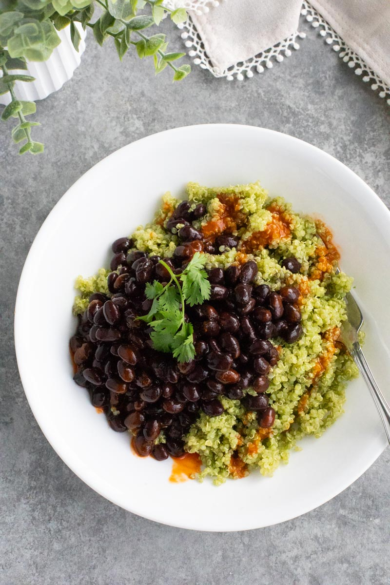 A white bowl filled with quinoa and black beans on a gray background.