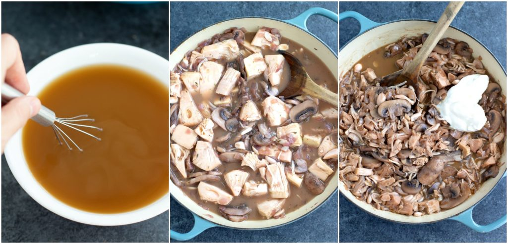 A collage of pictures showing how to make vegan mushroom stroganoff in a few easy steps in a large blue ceramic pan.