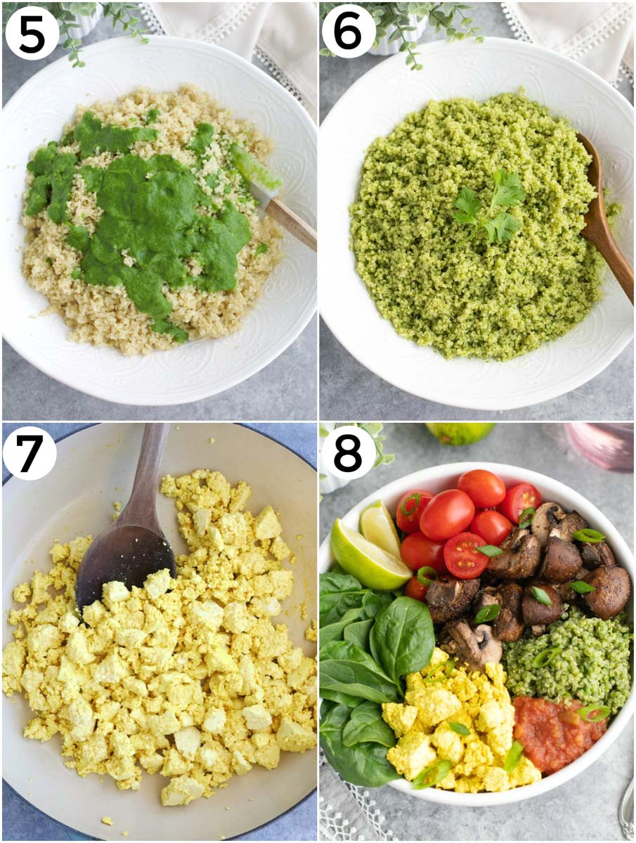 A collage showing how to make a veggie burrito bowl in a few easy steps.
