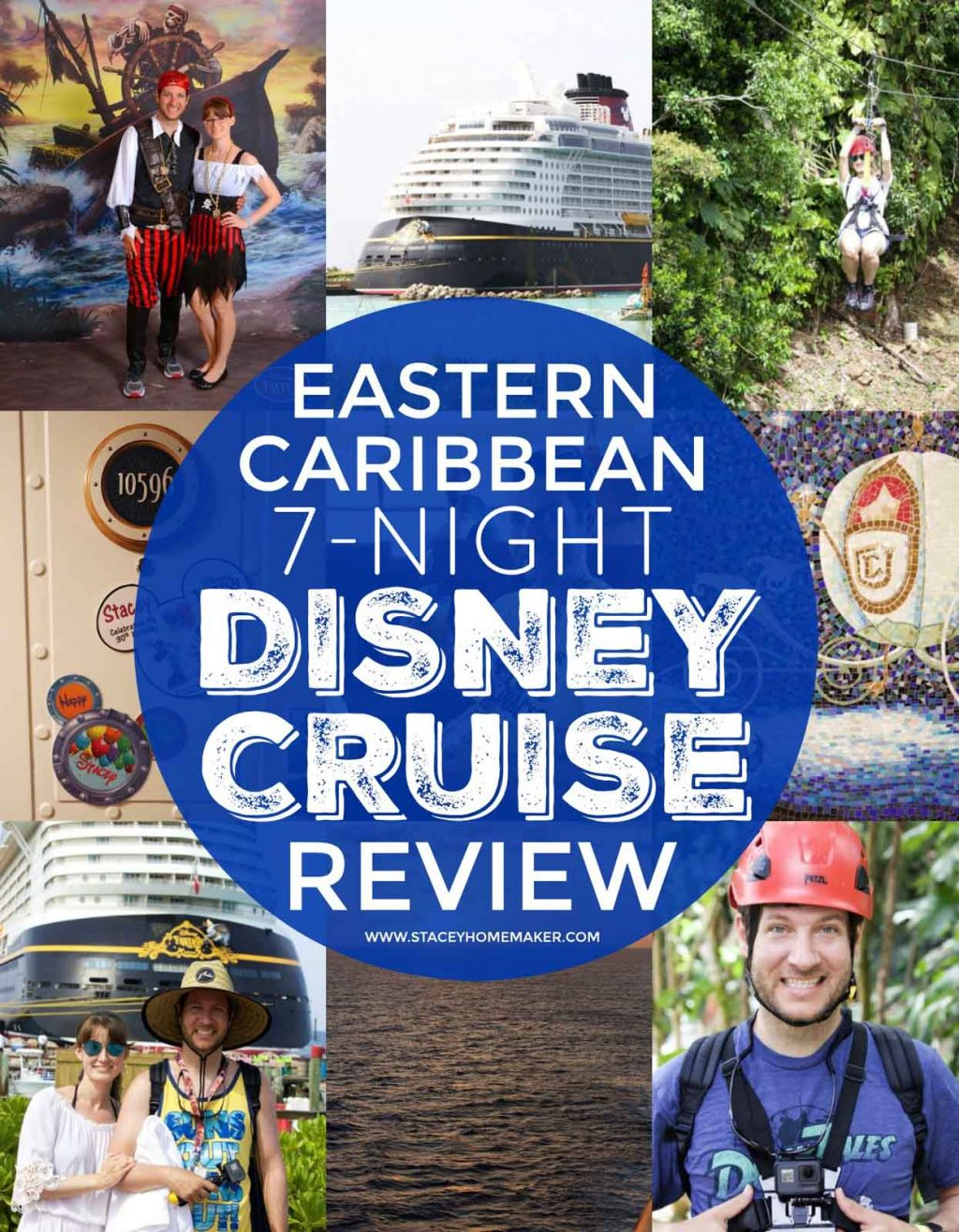 "A photo collage with a circular label that says, ""Eastern Caribbean 7-Night Disney Cruise Review."""