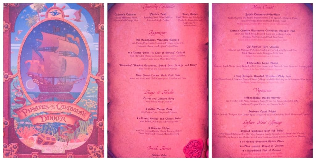The pirate menu for pirate night on a disney cruise.