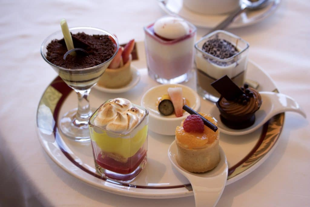 A plate filled with small desserts at Palo brunch on the Disney Fantasy.