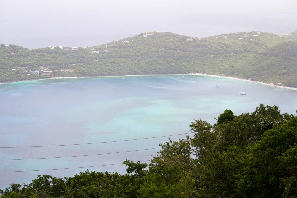 A view of Megan's beach from the top of a hill in St. Thomas.