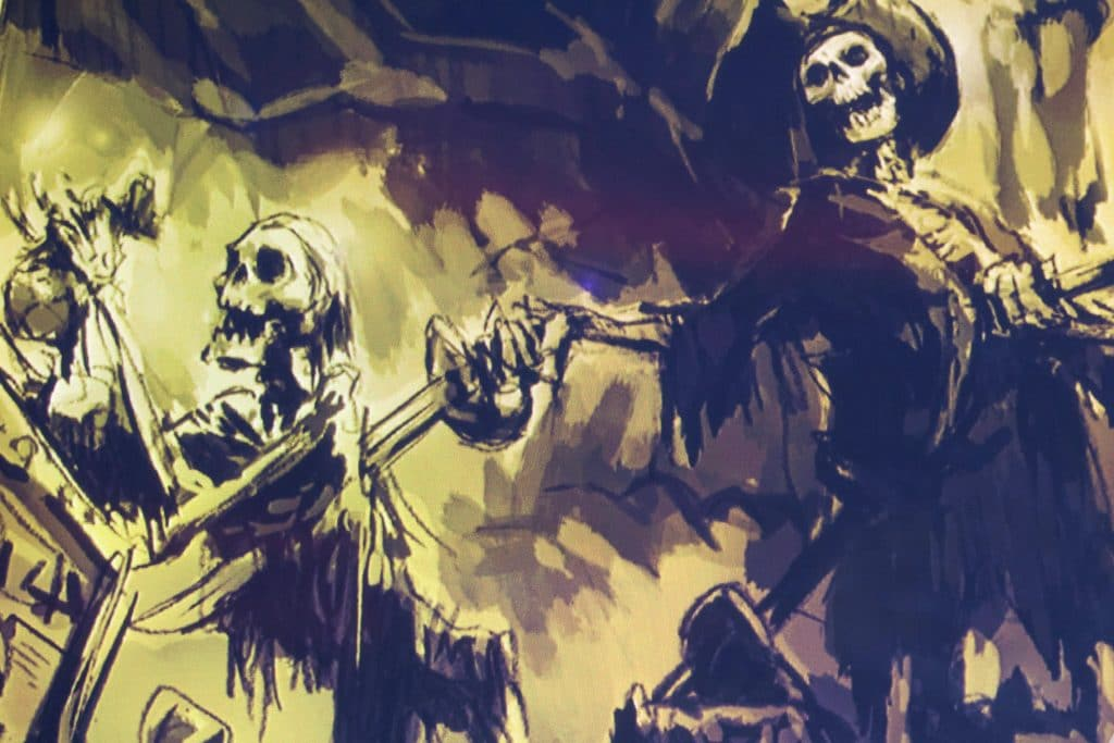 One pirate skeleton is stabbing another pirate skeleton with a knife.