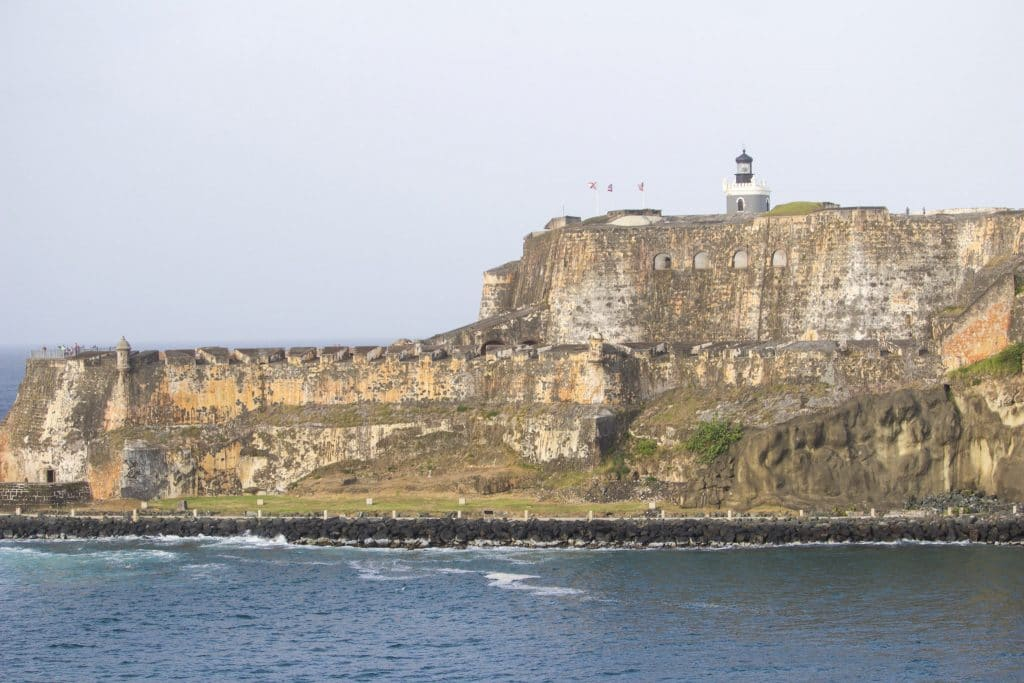 A view of a historic old fort surrounded by water In Puerto Rico.