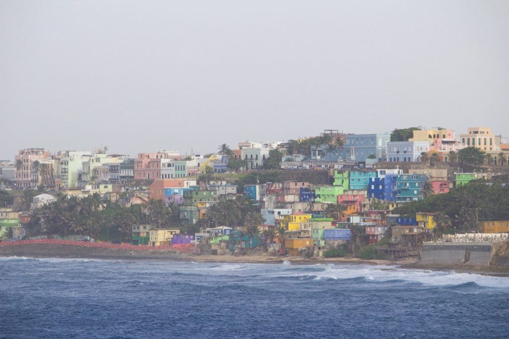 A view of the brightly colored buildings on the Puerto Rico coast line.
