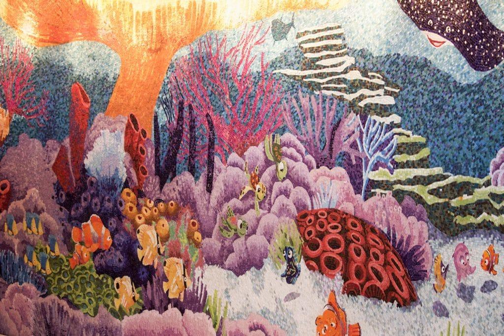 Finding Nemo tile mosaic mural on the Disney Fantasy.