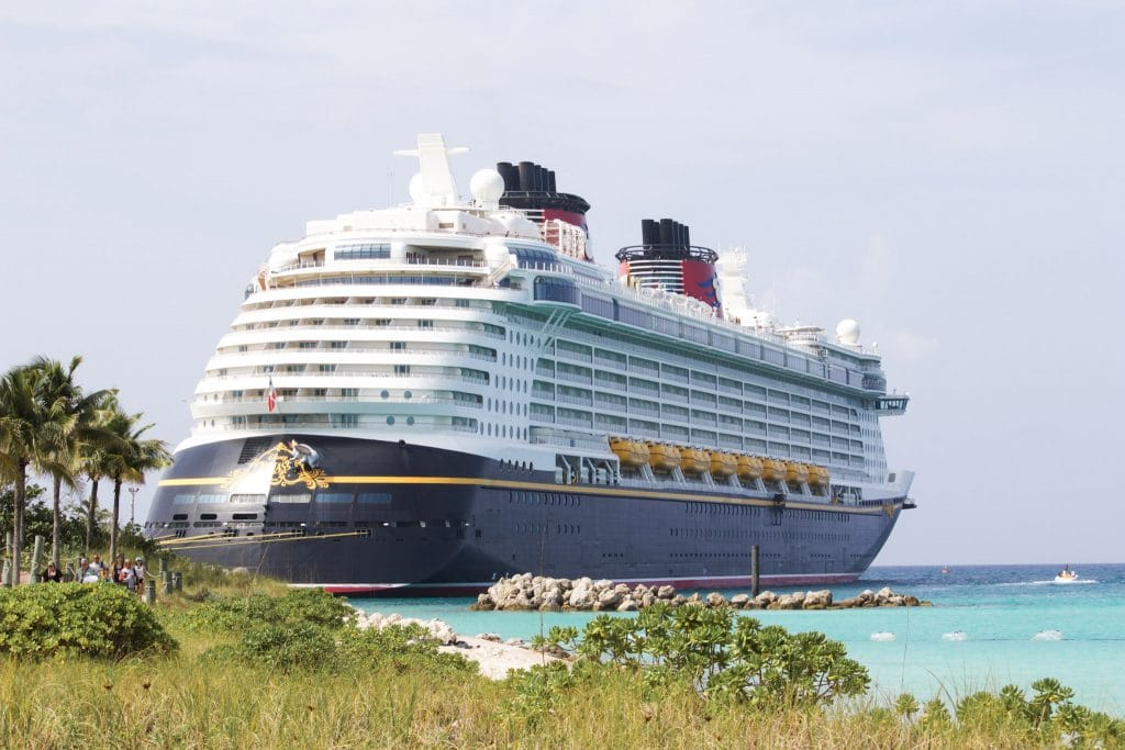 A view of the Disney Fantasy ship docked in Castaway Cay.