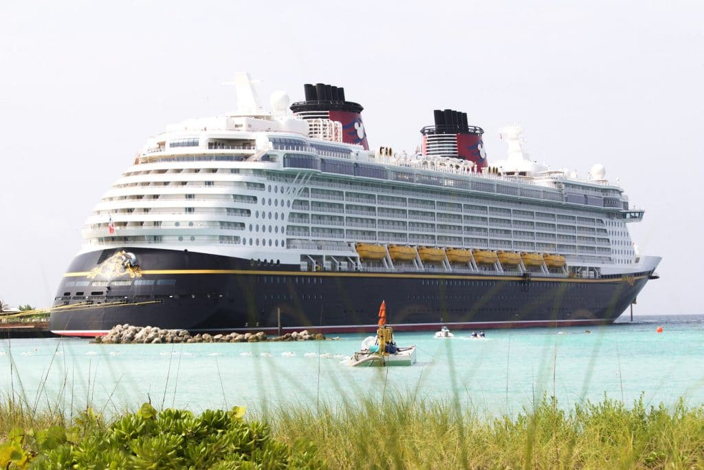 The Disney Fantasy docked in the water at Castaway Cay.