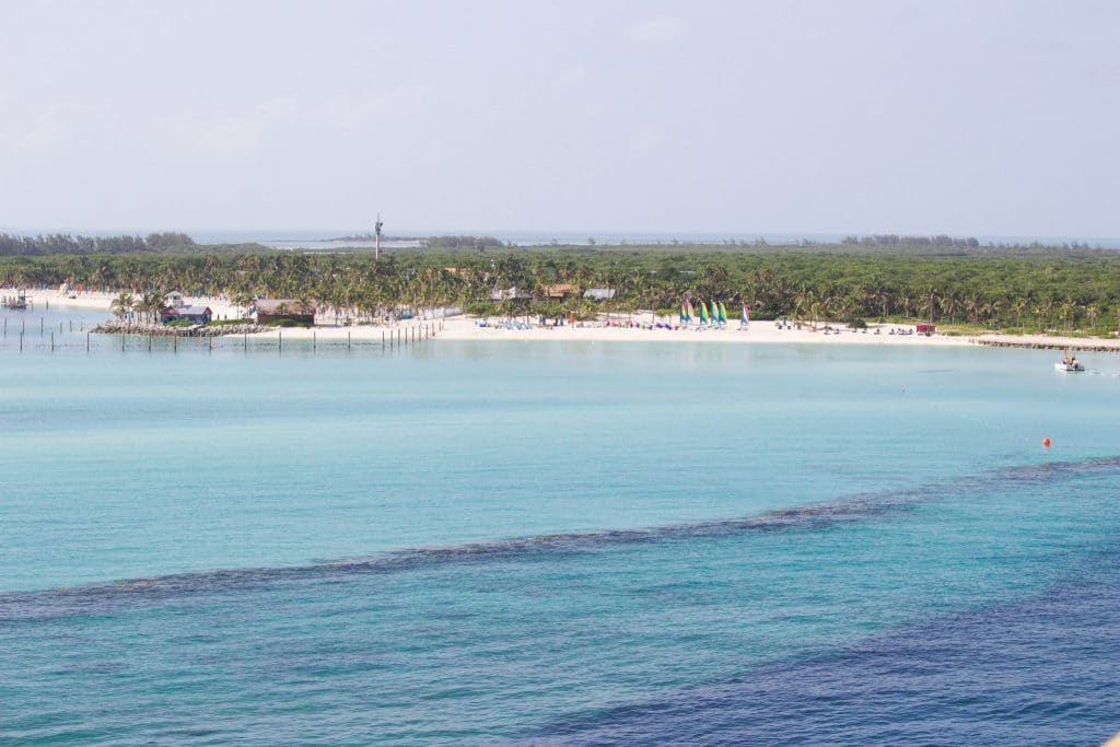 A verandah view of Castaway Cay from the starboard side of the ship.